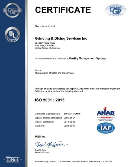 iso certification for Grinding & dicing